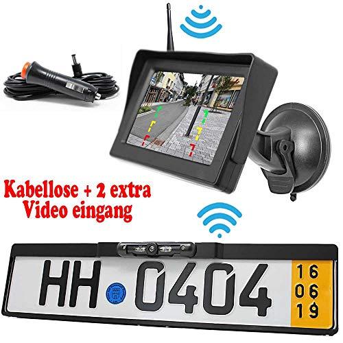 Rückfahrkamera mit Kennzeichenhalter inkl. Autoscheibe Monitor - Bis zu 5 Jahre Garantie. Drahtloser Kabellose Funk oder Kabel Vinbindung für PKW KFZ Auto Bus & Transporter - Rear View Camera Kamera
