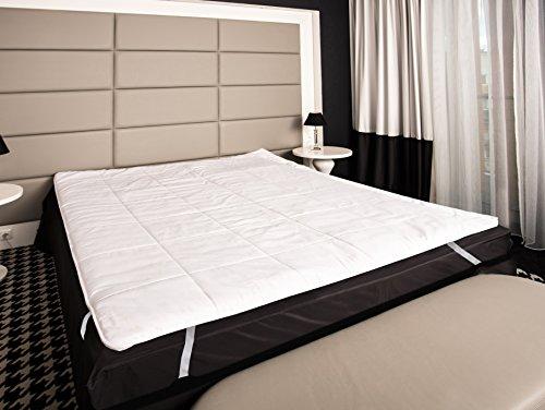 Matratzenauflage Baumwolle befüllt mit 100% Merino-Schafschurwolle Natur-Topper 90x200cm Weiß (Wolle-matratze-auflage)