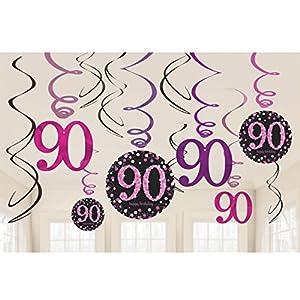 Amscan International-9901763rosa Kit de decoración para celebración de 90º Swirl