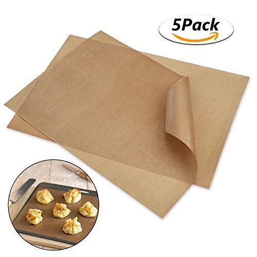 Dauerbackfolie / Backpapier , Genmer Backmatten wiederverwendbar 5er Set (40 x 30 cm) ,Geeignet für Antihaft-Backformen 18cm - 24cm wiederverwendbar , spülmaschinengeeignet