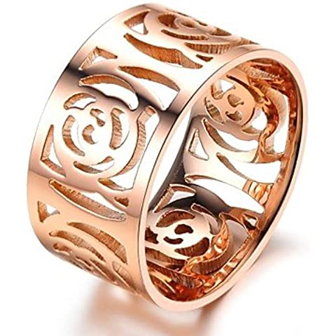 YKQJING Hollow out the camellia plating rose gilding the ring