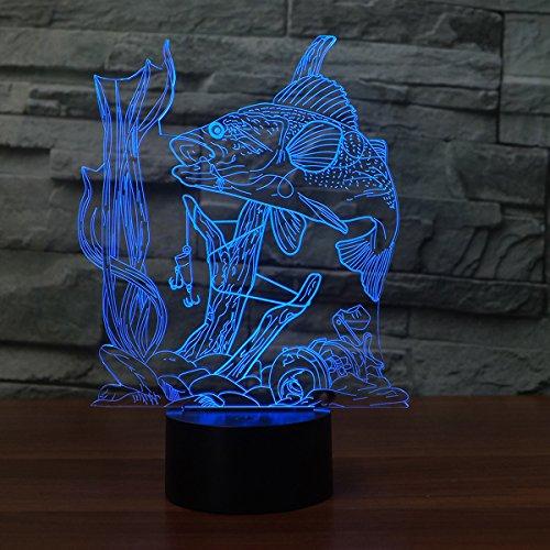 ampe USB Led Nachtlicht Fernschalter 7 Farbwechsel Innen Lampe Haken Karpfen Fisch Schreibtischlampe Für Spielzeug Geschenk (Wie Fische Schlafen)