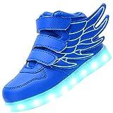 Odema Zapatos de luz LED de Cana Alta con alas Unisex para Nino