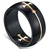 Flongo 8MM Edelstahl Ring Ringe Band Schwarz Gold Golden Kruzifix Kreuz abziehbar Polished Herren 54MM