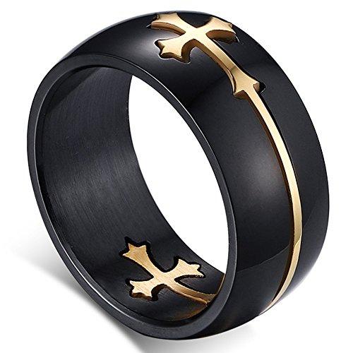 Flongo 8MM Edelstahl Ring Ringe Band Schwarz Gold Golden Kruzifix Kreuz abziehbar Polished Herren 57MM