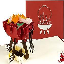 PaperCrush® Pop-Up Karte Grill - 3D Geburtstagskarte für Männer, Mitbringsel für Grillfeier, Grillen - Handgemachte 3D-Karte für Papa, besten Freund