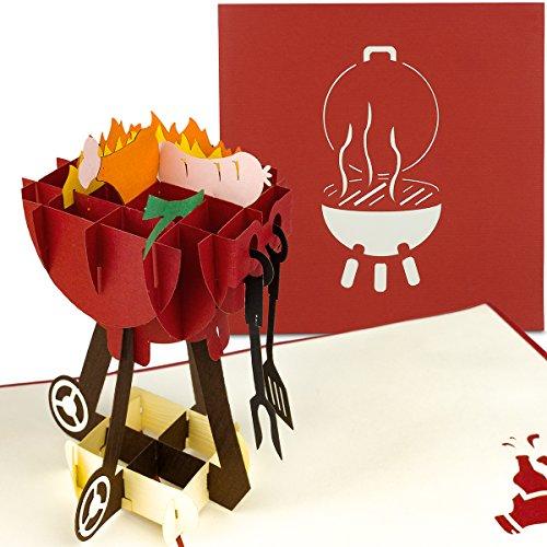 PaperCrush® Pop-Up Karte Grill - 3D Geburtstagskarte für Männer, Mitbringsel für Grillfeier, Grillen - Handgemachte 3D-Karte für Papa, besten Freund (Vollständige Grillen)