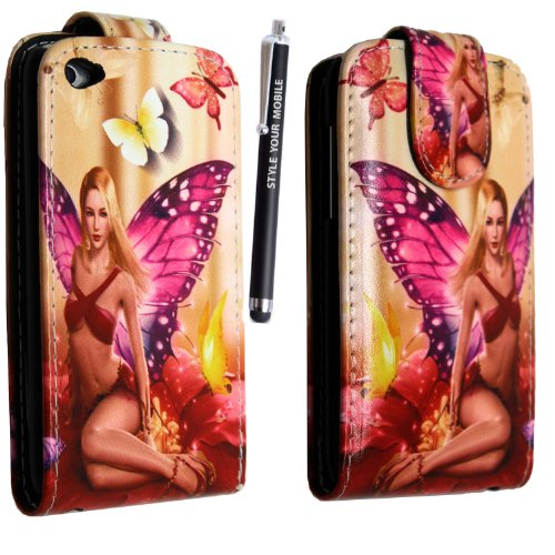 4th Ipod Screen Protector (APPLE IPOD TOUCH 4 4TH GEN MAGNETIC BOOK FLIP PU LEATHER CASE COVER POUCH + SCREEN PROTECTOR +STYLUS (FAIRY GIRL WING GIRL FLIP))