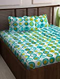 #5: Story@Home Candy 120 TC Cotton Double Bed Sheet with 2 Pillow Covers - Geometic Circles, Queen Size, Cyan and White
