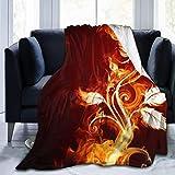 AAAshorts Manta de Forro Polar con Estampado de Flores de Fuego 3D, Ligera, Supersuave, acogedora, para sofá, Cama, Silla, 60 x 50 Pulgadas