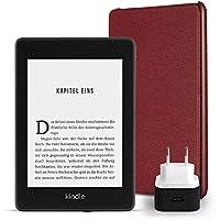 Kindle Paperwhite Essentials Bundle mit einem Kindle Paperwhite, 8 GB, WLAN, mit Spezialangeboten, einer Amazon Lederhülle (Bordeaux) und einem Amazon Powerfast 9-W-Ladegerät