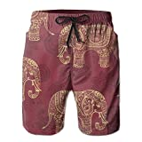 Bohemian Elephant Boho Mens Casual Board Shorts Loose Fit Lined Solid Swim Trunks Jogger Shorts