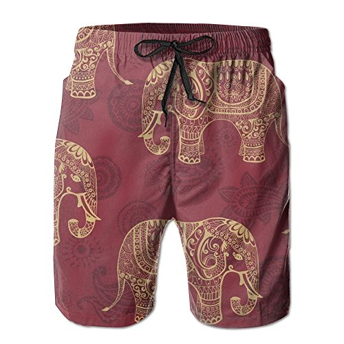 Bohemian Elephant Boho Mens Casual Board Shorts Loose Fit Lined Solid Swim Trunks Jogger Shorts -