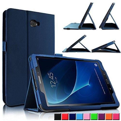 Samsung Galaxy Tab A 10.1 Hülle Case, Infiland Slim Fit Folio PU-lederne dünne Kunstleder Schutzhülle Cover Tasche für Samsung Galaxy Tab A 10.1 Zoll Wi-Fi/ LTE (2016) SM-T580N/SM-T585N Tablet-PC(mit Auto Schlaf / Wach Funktion)(Dunkleblau)