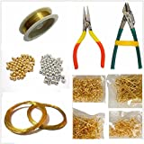 #2: Jewellery making basic accessories finding tool kit with multiple items- wire, tools, beads