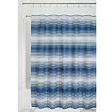 iDesign Enzo Duschvorhang Textil | pflegeleichter Duschvorhang aus Stoff mit verstärkten Löchern | Badewannenvorhang im Streifen-Design | Polyester navyblau/weiß