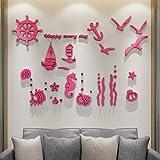 Thatch Kreative Wandaufkleber Tapete Marine Acryl feste Wand Aufkleber Bild 3 D Schlafzimmer Wohnbereich Schlafsofa für Kinder Hintergrund,2000*1328mm,pink