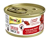 GimCat Katzennassfutter Superfood ShinyCat Duo Thunfischfilet mit Tomaten – Hochwertiges Katzenfutter ohne Zuckerzusatz und Gluten – 24 Dosen (24 x 70g)