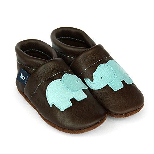 pantau.eu Leder Krabbelschuhe Lederpuschen Babyschuhe Lauflernschuhe mit Elefant DUNKELBRAUN_HELLBLAU