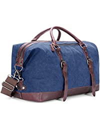 BAOSHA HB-14 Oversized Canvas Weekender Bag Travel Carry On Duffel Tote Bags Weekend Overnight Travel Bag Unisex Travel Holdall Handbag with PU Leather Decoration