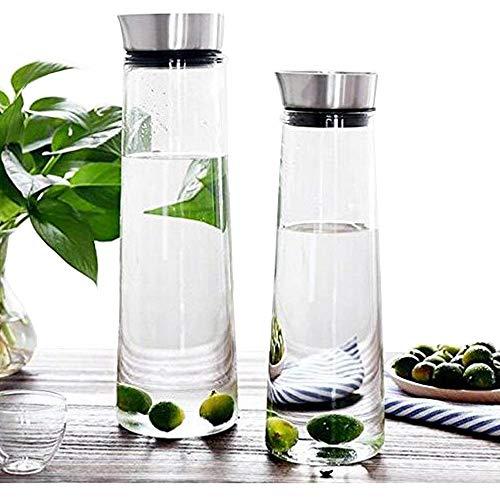 Wasserkaraffe mit einem Fassungsvermögen von 1 l von Buwico, Saftflasche aus Borosilikatglas mit Deckel aus Edelstahl, für Wasser, Milch, Saft, Eistee, Limonade und kohlensäurehaltige Getränke geeignet, Borosilikatglas, 1L