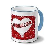 Tasse mit Namen Kußmäulchen - Motiv Rosenherz - Namenstasse, Kaffeebecher, Mug, Becher, Kaffeetasse - Farbe Hellblau