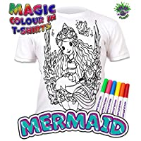 Splat Planet Colour-in Mermaid T-Shirt with 6 Non-Toxic Washable Magic Pens - Colour-in and Wash Out T-Shirt
