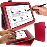 Google Nexus 10 Tablet Case - G-HUB PropUp RED Stand Case Cover (with integrated stand function and magnetic sleep sensors) for Google / Samsung Nexus 10 with BONUS: G-HUB ProPen Stylus