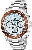 Reloj de pulsera Henry Jay, de acero inoxidable y multifuncional. Reloj Speciality GMT Aqua Master. Muestra el día, la fecha y el taquímetro