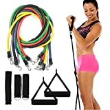 Resistance bands set - 5 tube set with handles, door anchor, ankle straps and carry bag for home fitness / travel fitness / strength (11 Pcs Set)