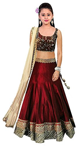 Dream Note Girls Maroon Colour Banglory Silk Un-Stitched Lehenga Choli,Gown,Salwar Suits,Dresses [Free...