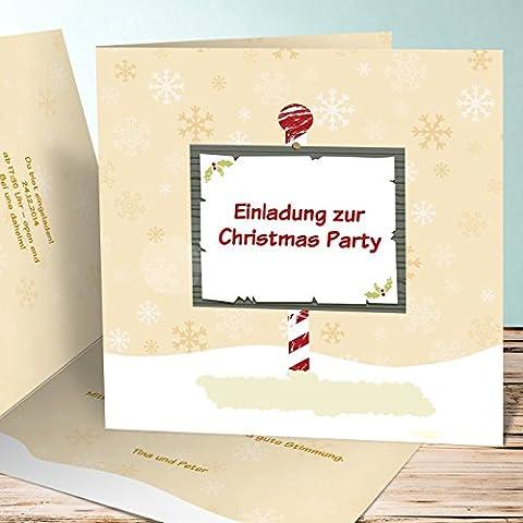 Weihnachtsfeier Einladungen, Hinweis 110 Karten, Quadratische Klappkarte 145x145 inkl. weiße Umschläge, Orange