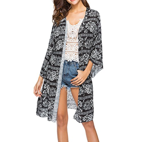 Zhhlaixing Abbigliamento Donna Estate Elegante Boho Chic, Womens Loose Swimwear Estate Stampato Kaftan Beachwear Cover Up Long Sleeve Cardigan Shirt Black