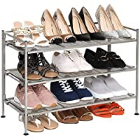 2-Tier Mesh Utility Shoe Rack - Chrome