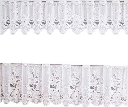 Ilkadim - tende da cucina, 2 pezzi, dimensioni: 35 x 150 cm (esterno), 65 x 150 cm, colore: bianco bianco