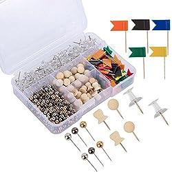 TOOGOO 500 pieces punaises pratiques et decoratives punaises Set avec boite de rangement pour la maison ou l'organisation de bureau, Tableau d'affichage, marquage de tissu, carte de voyage