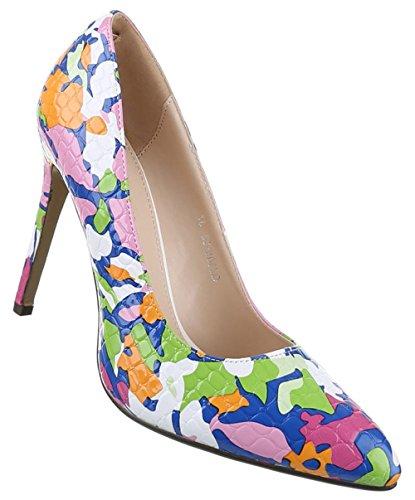 Damen-Schuhe Pumps | Frauen High Heels mit 11 cm Stiletto-Absatz in verschiedenen Farben und Größen | Schuhcity24 | Buntes Muster Pink