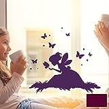 ilka parey wandtattoo-welt® Fensterbild Wandtattoo Fee Elfe auf Wiese mit Schmetterlingen Fenstertattoo Fensteraufkleber Fenstersticker Wandbild Wandaufkleber Wandsticker Aufkleber Sticker M2099 - ausgewählte Farbe: *beere* ausgewählte Größe: *M - 20cm breit x 18cm hoch*