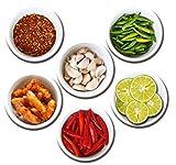 Kühlschrankmagnete Gewürze Magnete für Magnettafel Stark 6er Set mit Motiv Thailand Küche groß Rund 50mm Küchenmotiv Lebensmittel Bunt