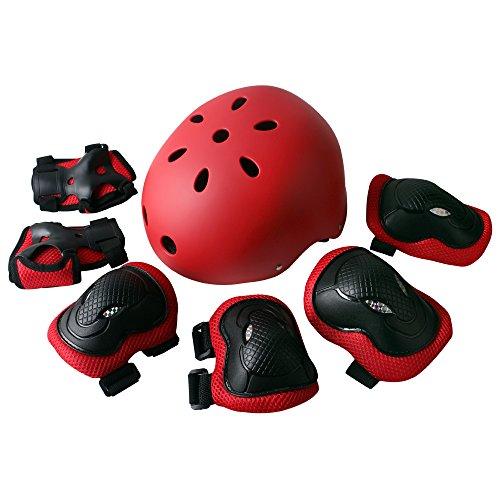 jumphigh Kinder Sport Knie Ellenbogen Handgelenke Head Support Schutz Helm Set für Unisex Kinder Skateboard Radfahren Roller Skating Extreme Sports Helme für Kopf Größe (53–60cm), rot