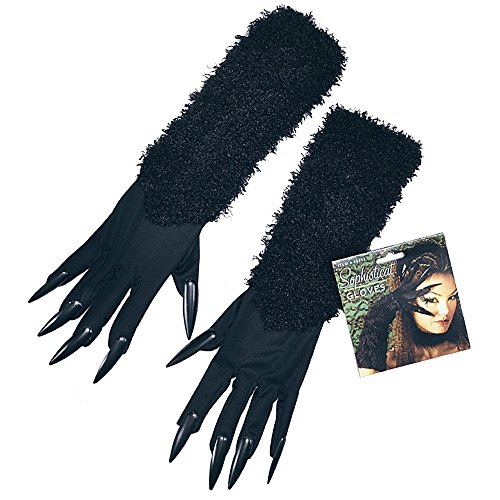 Bristol Novelty BA860 Katze Handschuhe mit Krallen, Damen, Schwarz, Einheitsgröße (Katze Krallen Kostüm)