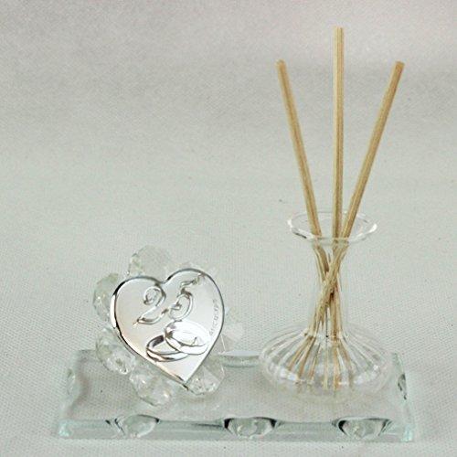 Dlm26418-trasparente profumatore in vetro soffiato e cristallo 25 anniversario nozze matrimonio_trasparente bomboniera