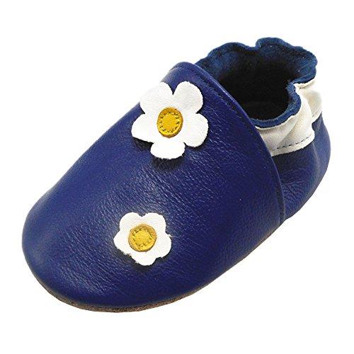 Happy Kids Baby Krabbelschuhe Blume Babyschuhe Mädchen Lederschuhe Weiche Sohle Baby Mokassins(12-18 Monat, Blau)