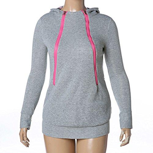 D-Pink Damen Mama Umstands Kapuzenpullover Umstandsshirt Hoodies Sweatshirts Sweatjacke Schwangerschafts Kapuzen Oberteil Tops (Grau) - 3