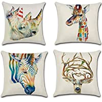 ATEENY Cotton Linen Square Throw Pillow Case Rainbow Animals Zebra Cushion Cover Case for Home Decorative 18 x 18inch Set 4-Pack (Giraffe & Horse)