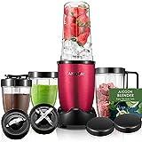 AICOOK Standmixer, Smoothie Maker, Blender für Smoothies und Milchshakes, 4 BPA-freie Tritan Trinkflasche (900W, mit 28.000 U/min, 15-teiliges Set Mixer), Rot