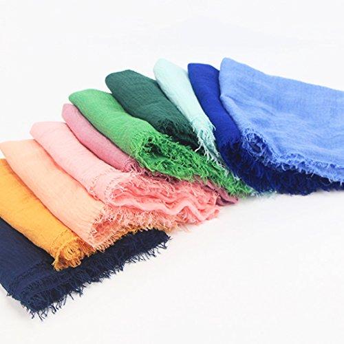 mioim Damen Muslim Islamischen Hanfstoff Kopftuch Schal Kopfbedeckungen Einfarbig in vielen Farbe 180x95cm - 4