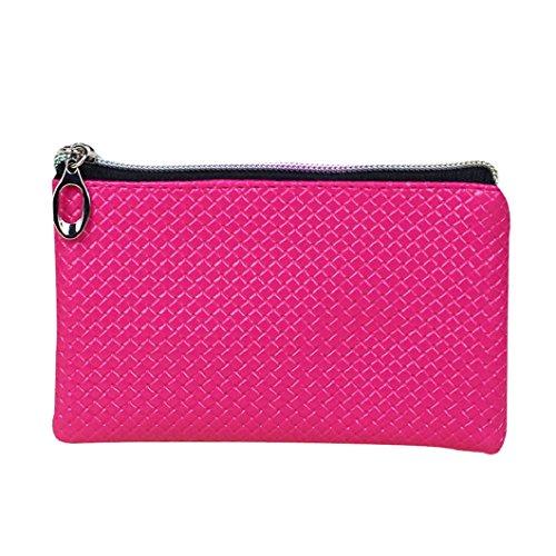 Malloom® Donne Portafoglio Cuoio Cerniera Portafoglio Moneta (nero) rosa caldo