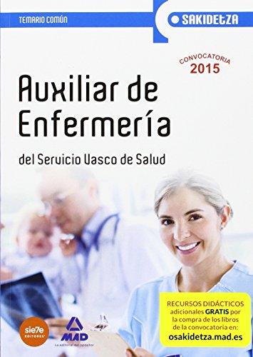 Portada del libro Auxiliar de Enfermería de Osakidetza-Servicio Vasco de Salud. Temario Común (Osakidetza 2015)