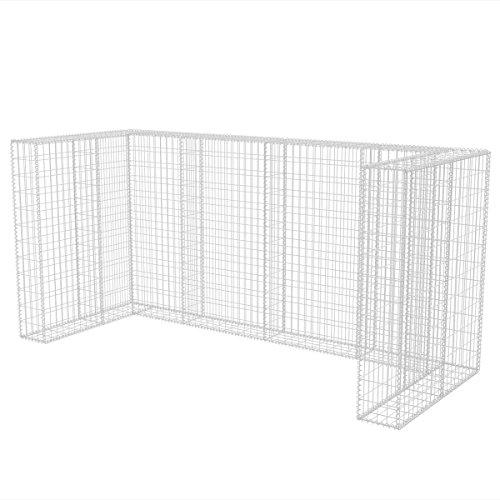 *vidaXL Gabione Mülltonnenbox für 3 Tonnen U-förmig Stahl 250x100x120cm Müllbox*
